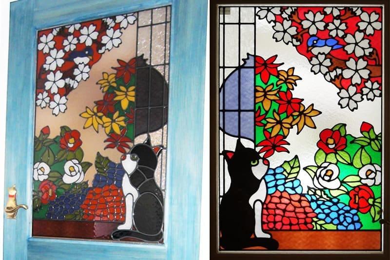 室内ドアに設置した猫の「フルオーダーステンドグラス」