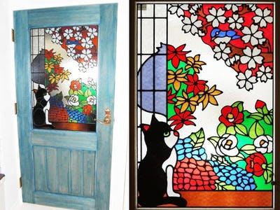 室内ドアに猫の「フルオーダーステンドグラス」を設置された事例 (愛知県名古屋市 A建築事務所様)