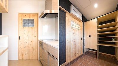 室内ドア窓に「ラインアート」を施工した事例 (長野県安曇野市 建築会社L社様)