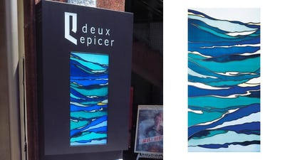 集客UP!店舗の看板に「ステンドペアガラス」を設置した事例 (福井県福井市 F建築設計事務所様)