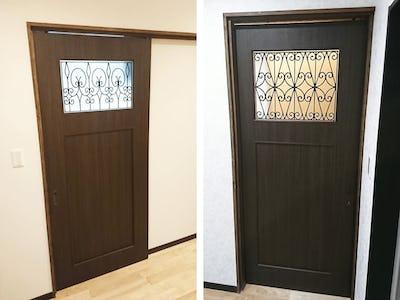木製ドアにマッチ!ドア窓に「ラインアート」を設置した事例 (宮崎県西都市 A様)