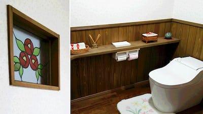 グッと華やかに!トイレの小窓に「エチュード」を設置した事例 (島根県松江市 Y様)