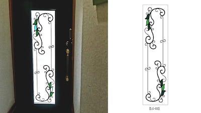 玄関ドア窓にアイアン調のシンプルな「ラインアートカラー」を設置した事例 (京都市山科区 A様)