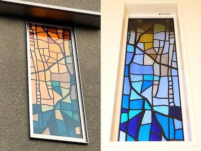 新築の窓ガラスに「ステンドペアガラス」を施工された事例 (福井県福井市 S様)