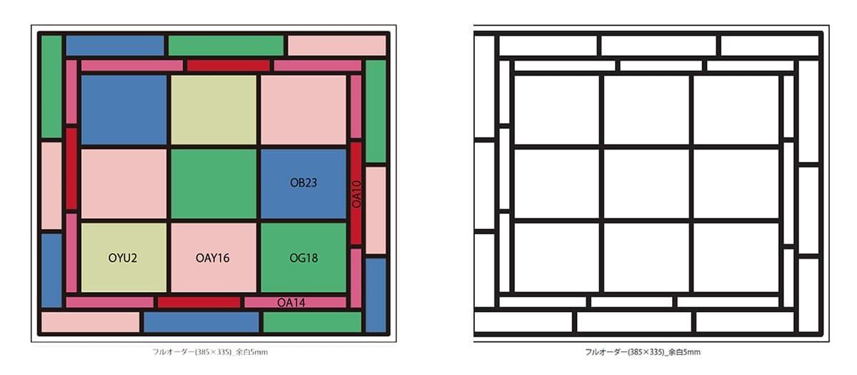 イメージ画像を元に作成した色レイアウト案と線画案