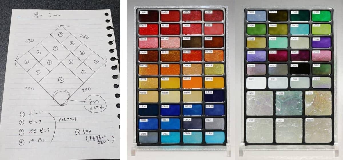 お客様からいただいたデザイン案(左) と 弊社でご用意したカラーサンプル(中央、右)