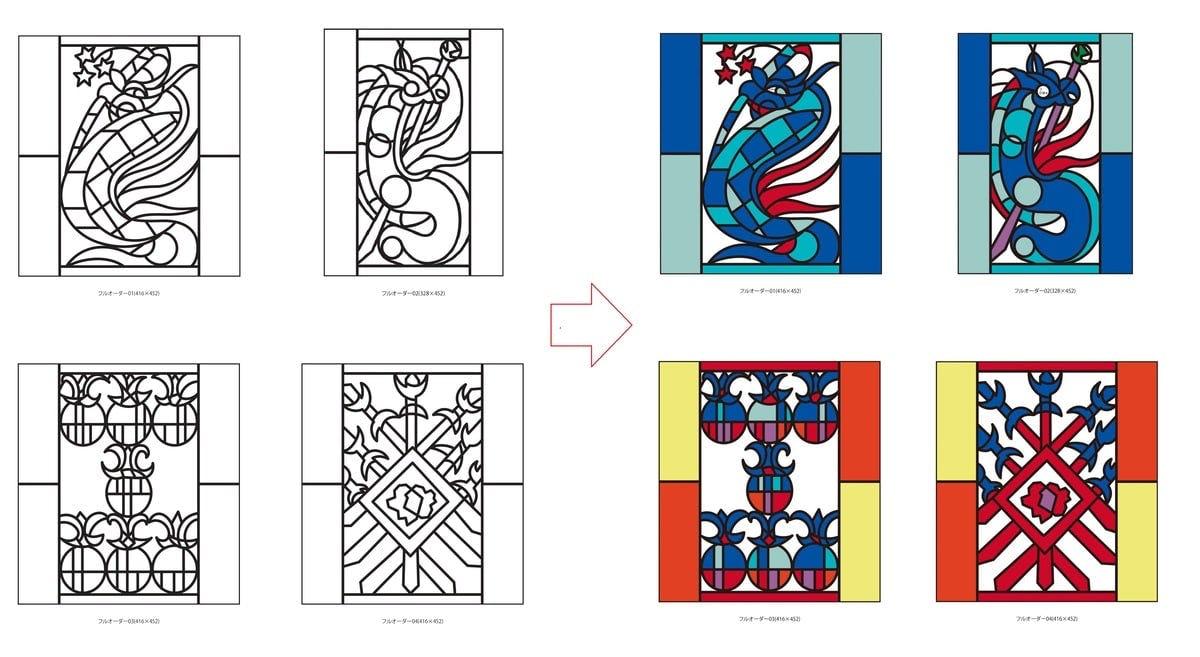 お客様からいただいたデザイン画を元に作成された線画とカラーレイアウト