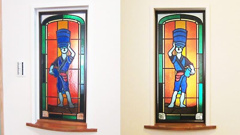 室内窓に設置した「フルオーダーステンドグラス」-汐ほす母の像