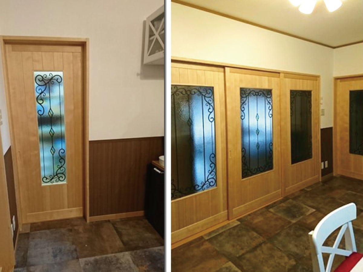 玄関扉とドア窓に使用した「ラインアートカラーLC05/LC06」