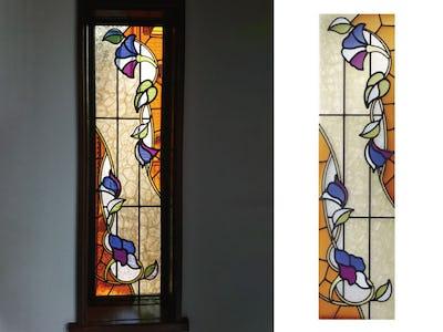 鮮やかな色調のステンドグラス!室内窓に「ブリリアントモーメント K31」を使用した事例(京都府I様)