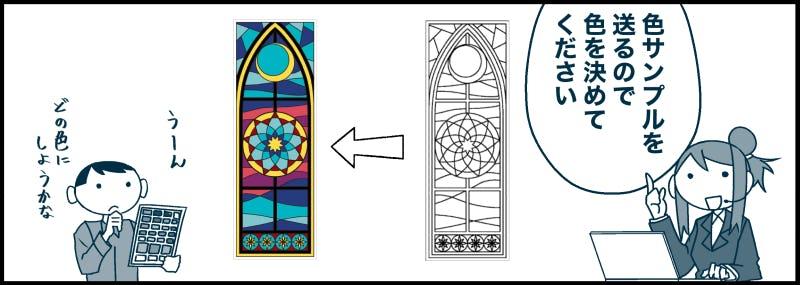 マンガでわかる フルオーダーステンドの制作過程 ステンドの色を決めます