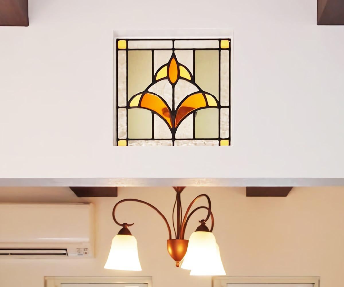 ステンドグラス風装飾ガラス(スクウェア) OG305_施工事例-1